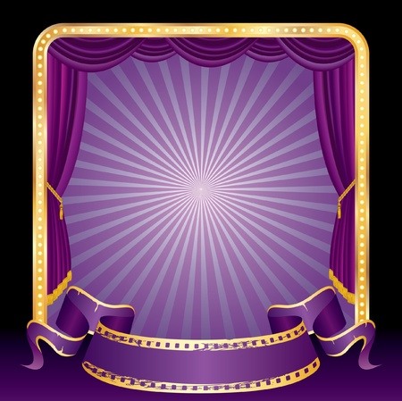 perforation tape: vector purple blank banner on stage with rays Illustration