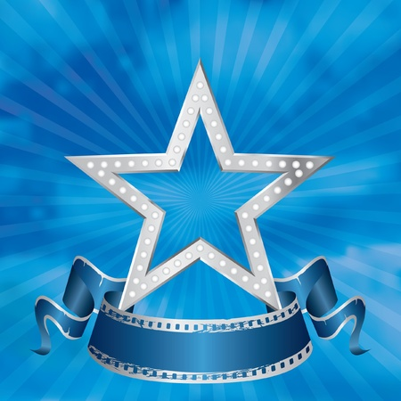 perforation tape: vector metal silver movie star on the cloudy sky