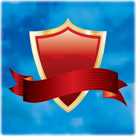 abstract vector illustration with red shield on cloudy sky Vector
