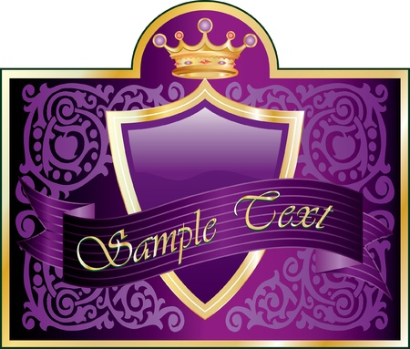 vector violet label for different products like beverages, food, cosmetics etc. Vector