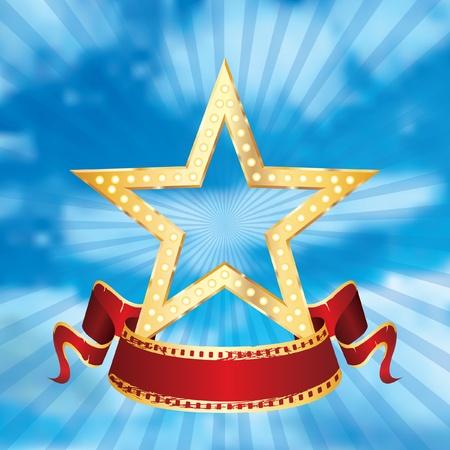 cinta de pelicula: estrella de cine golden vector con banner en blanco en el cielo nublado