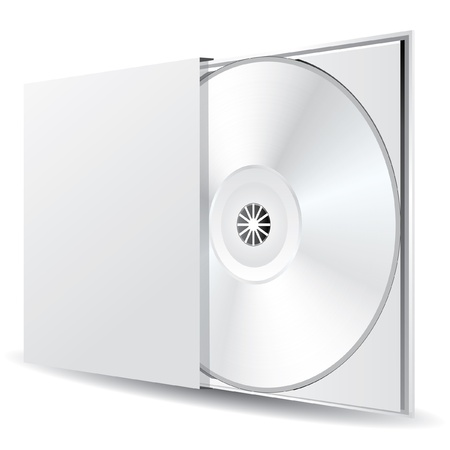 compact: vector blank CD or DVD disc in the box Illustration
