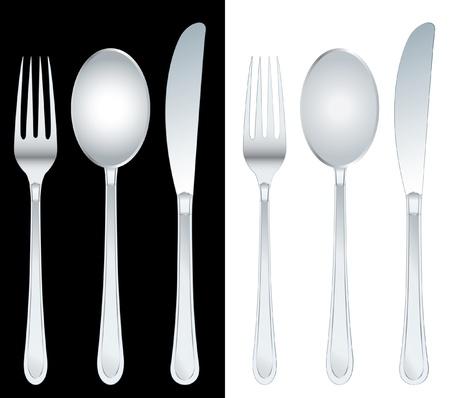 cuchillo: ilustraci�n vectorial del tenedor, cuchara y cuchillo Vectores