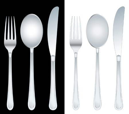 stainless steel kitchen: vector illustration of the fork, spoon and knife Illustration