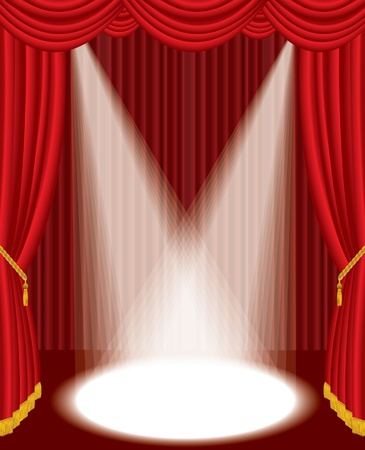 illustration of the empty red stage with two spotlights