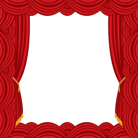 vector empty abstract frame with red curtain Vector