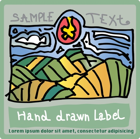 wine country: vector hand drawn label for wine or some other agriculture product