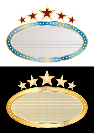 vector blank oval cinema displays Illustration