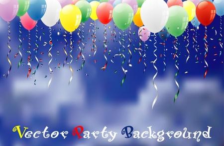 globos de cumpleaños: Fondo de parte de vector con confeti y globos en el cielo nuboso