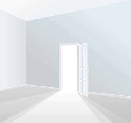 vector opened door in empty white room Vector