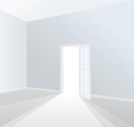 vector opened door in empty white room Stock Vector - 10001343
