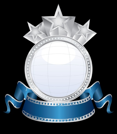 ector bubble blank silver cinema display with blue banner Vector