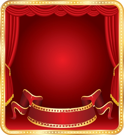 spot advertising: vector blank banner on stage with red curtain