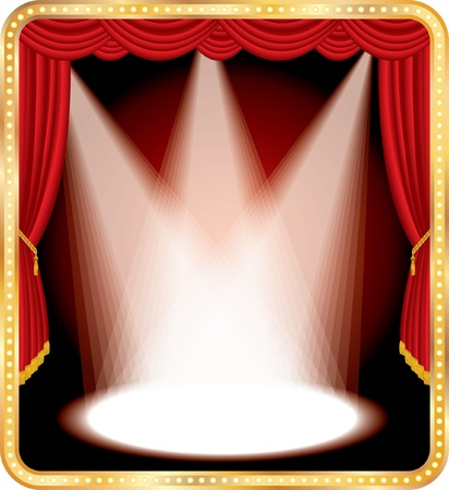 vegas strip: vector empty stage with red curtain and three spotsa Illustration