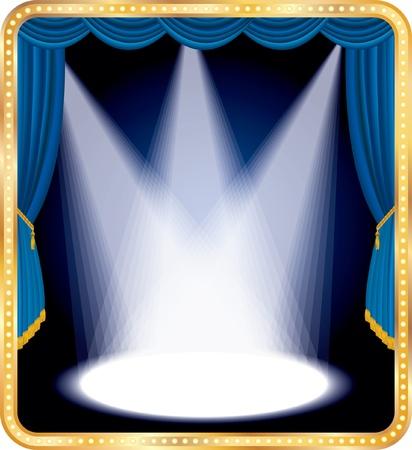 marquee sign: palco vuoto con tenda blu e tre punti vettoriali