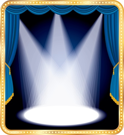 curtain theatre: vector empty stage with blue curtain and three spots Illustration