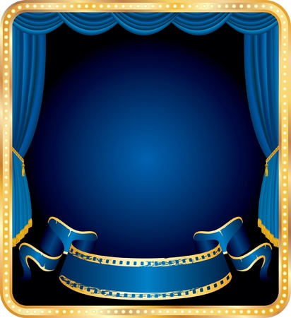 vector blank banner on stage with blue curtain Stock Vector - 10075470