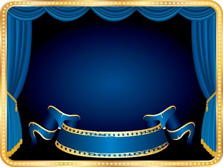 marquee sign: banner bianco vettoriale sul palco orizzontale con tenda blu