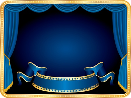 vector blank banner on horizontal stage with blue curtain
