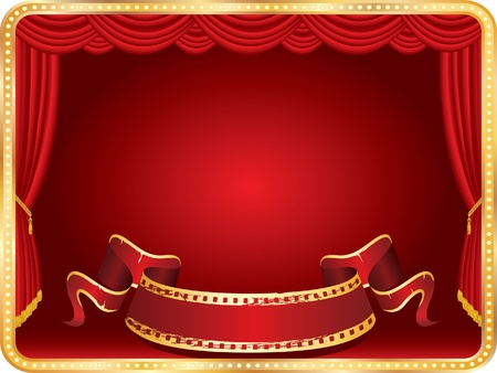 perforation: vector perforated red blank banner on horizontal stage with red curtain