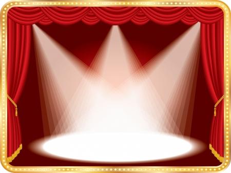 Vector horizontale leeren Bühne mit roter Vorhang und drei spots