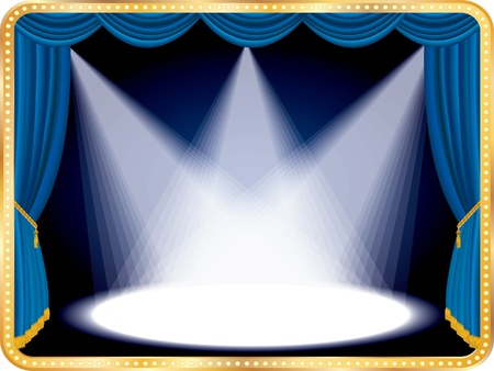 vector horizontal empty stage with blue curtain and three spots Vector