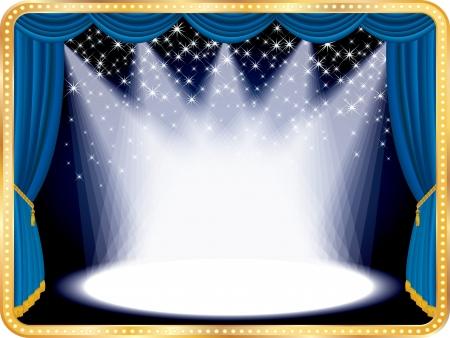 Vector falling estrellas en el escenario azul, eps10 archivo Ilustración de vector