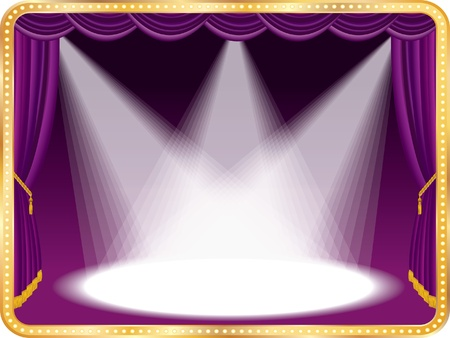empty stage: vector empty stage with violet curtain and three spots, eps 10 file Illustration