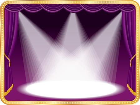 b�hnenvorhang: Vector leeren B�hne mit violetten Vorhang und drei Spots, Eps 10-Datei Illustration