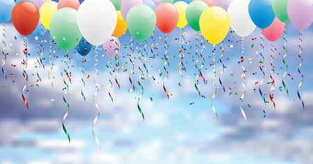 vector horizontal party background with colorful balloons on cloudy sky Illustration