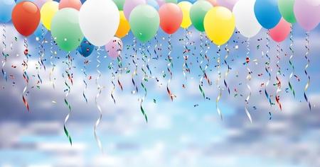 vettore sfondo partito orizzontale con palloncini colorati in cielo nuvoloso