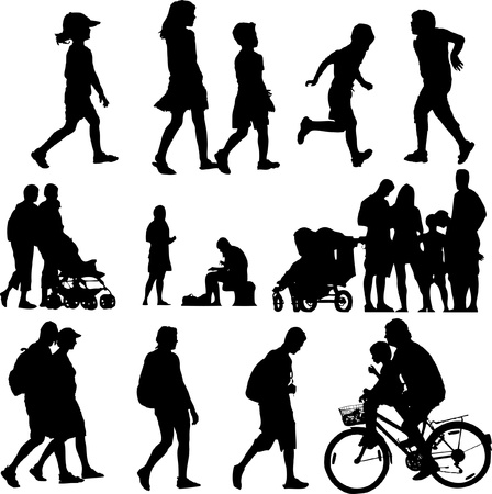 male figure: children and adults in action Illustration