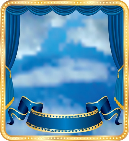 theatre symbol:  blue curtain stage with cloudy sky Illustration