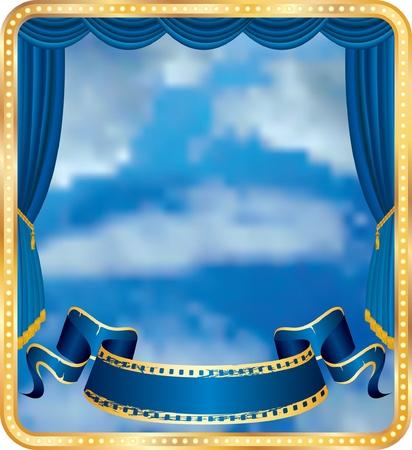 cinta de pelicula:  etapa de cortina azul con cielo nuboso