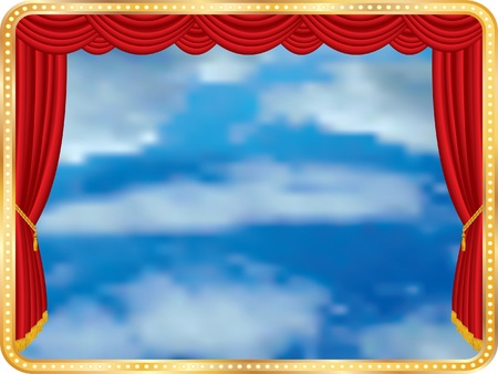 telon de teatro: cielo nublado en el escenario Vectores