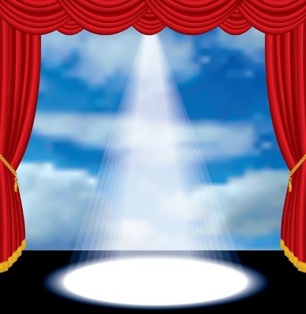terciopelo azul: etapa de cortina rojo con el cielo nublado de vectores Vectores