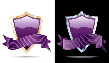 two vector purple shields with banners Stock Vector - 10483573