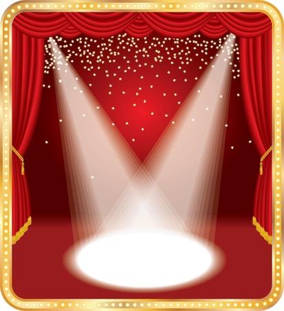 telon de teatro: estrellas de etapa con cae oro rojo de vectores