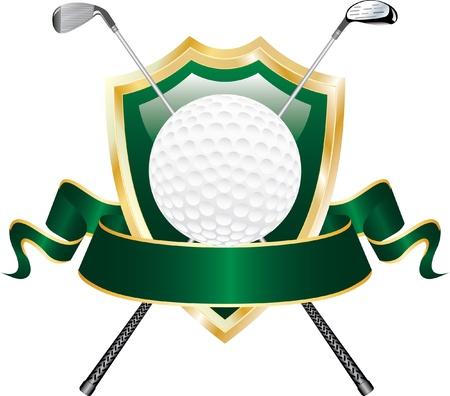 disegno vettoriale per l'aggiudicazione golf con scudo e banner bianco