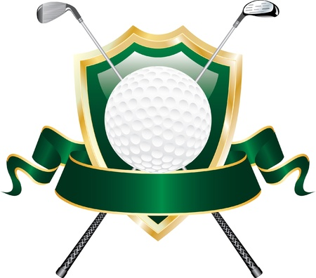 vector design for golf award with shield and blank banner Stock Vector - 10513102