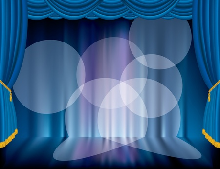 vector blue stage with blurry background  Illustration