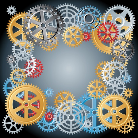 industrial machine: vector different gears like frame Illustration
