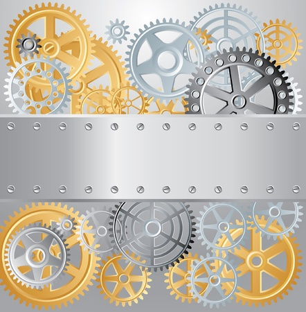 clock gears: vector layout with gears and blank metal plate