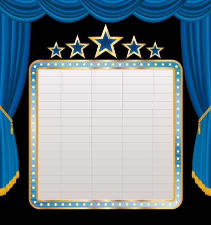 marquee sign: blank billboard on blue stage Illustration