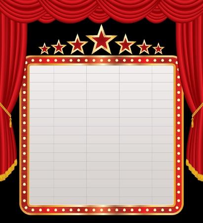 marquee sign: vettore cartellone bianco sul palco rosso