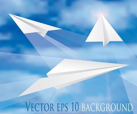 view from the plane: Vector paper planes sobre cielo nublado Vectores