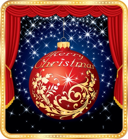 winter theater: Christmas ball on stage Illustration