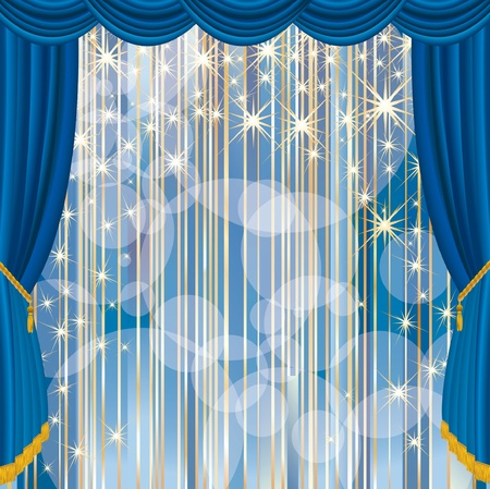 theatrical performance: blue stage with stars and strips Illustration