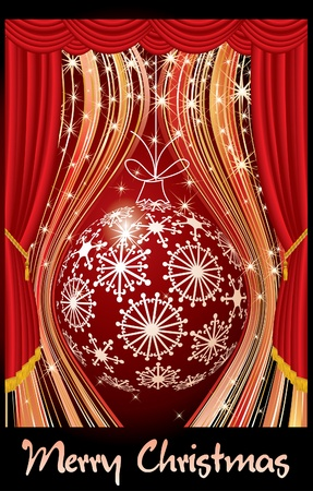 winter theater: Christmas card with ball on stage