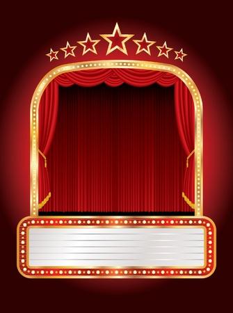 marquee sign: palco con sette stelle e cartellone bianco